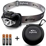 Explortek LED Headlamp Flashlight with Red and White Light Plus Travel Case - Super Bright 168 Lumen Cree Headlight for Hiking Running Camping Hunting - Waterproof IPX6 - Duracell Batteries Included