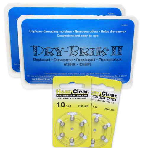 Dry Brik II (Newest Version) (2 packs of 3) + 12 HearClear Hearing Aid Batteries (Size 10 (12 pcs)) by ClearHear