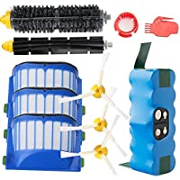 efluky 4000mAh Ni-MH Replacement Roomba Battery + Replacement Accessory Part Kit for iRobot Roomba 600 Series 600 610 614 620 625 630 635 640 645 650 655 660 665 670 680 690 - a set of 11