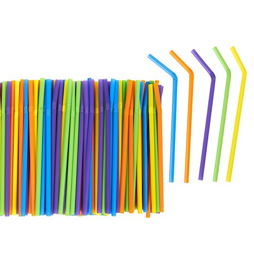 Price comparison product image 300 Count Bulk Smoothie Straws - Bendy Straws - Colorful Flexible Plastic Drinking Straws for Birthdays, Parties, Celebrations, Multiple Colors
