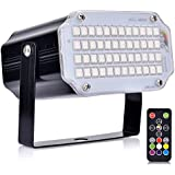 Aushen 48 Leds Strobe Light,Mini Portable Powerful Party Light,Sound Activated Flash Stage Light Speed Control for Indoor Dance Disco DJ Parties Wedding Christmas Club (RGB)