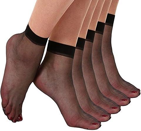 Begirlly Womens Ankle High Pantyhose Sheer Silk Socks 5 Pack (Ankle High Hose)