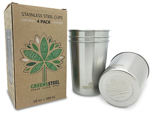 Greens Steel 10oz Stainless Steel Cups (4 Pack) - Great for Kids & Toddlers - 10 ounces