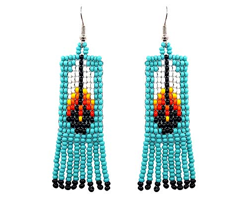 Mia Jewel Shop Handmade Native American Style Tribal Seed Bead Feather Pattern Fringe Dangle Earrings (Turquoise) ()