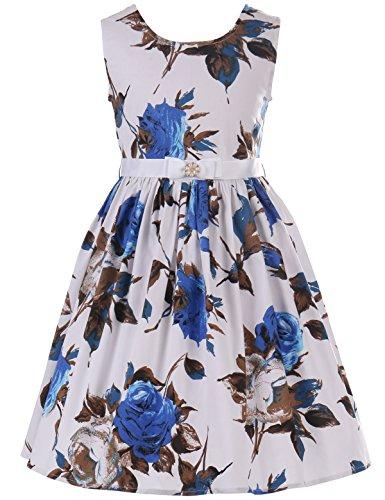 PrinceSasa Elegant Girls Dresses Cotton Floral Sundresses Vintage Frocks for Girls Outfits Dress,f3,48''/4-5 Years(Size 120)