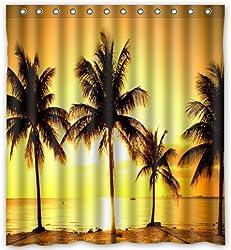 Personalized Summer Beach Palm Tree Blue Sea Sunshine Waterproof Shower Curtain
