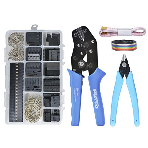 Crimping Tools for 640 Pcs 40 Pin 2.54mm Pitch Single Row Pin Headers, Dupont Connector Housing Male / Female Pin Connector,Crimp Tool Kit,AWG28-18,10 Wire Ribbon (Pin Female Crimping Housing)