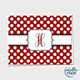 Set of 10 Monogram Note Cards - Single Initial - Single Letter - Thank You Cards - Thank You Notes - Polka Dots - Monogram - Personalized Gift - 18 Colors to Choose