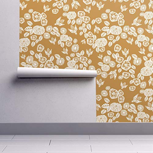 (Peel-and-Stick Removable Wallpaper - Bee Garden Bees Bugs Bee Mustard Flowers Floral Botanical Yellow by Andrea Lauren - 24in x 60in Woven Textured Peel-and-Stick Removable Wallpaper Roll)