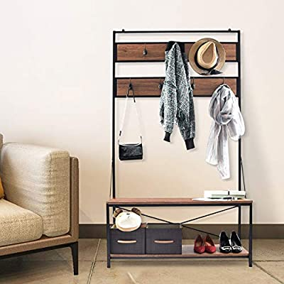 charaHOME Coat Rack with Storage,Free Standing Industrial Clothes Rack,Entryway Organizer Hall Tree,Entryway Bench with Coat Rack with 2 Environmental P2 MDF Board Multifunctional,Sturdy Metal -  - hall-trees, entryway-furniture-decor, entryway-laundry-room - 51jsrrbpJeL. SS400  -