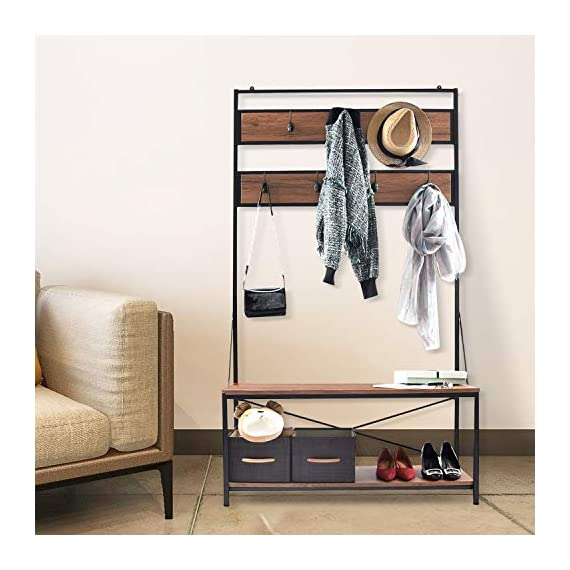charaHOME Coat Rack with Storage,Free Standing Industrial Clothes Rack,Entryway Organizer Hall Tree,Entryway Bench with Coat Rack with 2 Environmental P2 MDF Board Multifunctional,Sturdy Metal -  - hall-trees, entryway-furniture-decor, entryway-laundry-room - 51jsrrbpJeL. SS570  -