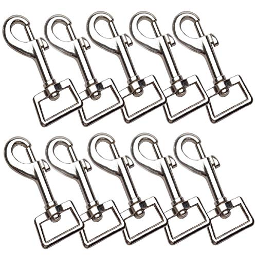 - Lainrrew 10 PCS 3 x 1IN Heavy Duty Silver Swivel Snap Hooks, 360° Rotatable Nickel Plated Lobster Claw Clasps Snap Trigger Pet Buckle for Art Craft Pets (10)