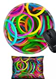 MSD Mouse Wrist Rest and Round Mousepad Set, 2pc Wrist Support design: 29820064 rainbow Colors Blue Loom Refills Silicon Elastic Rubber Bands