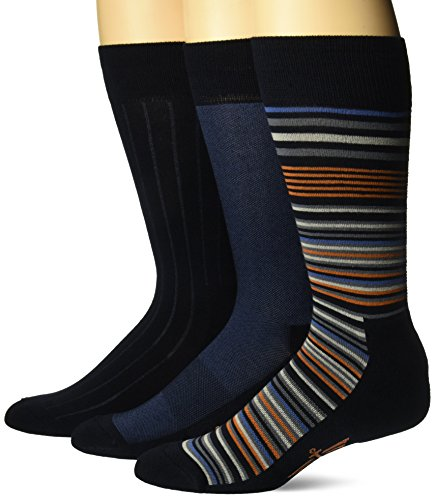 Dockers Mens 3 Pack Ultimate Fit - Elevated Dress Allover Stripe Crew Socks