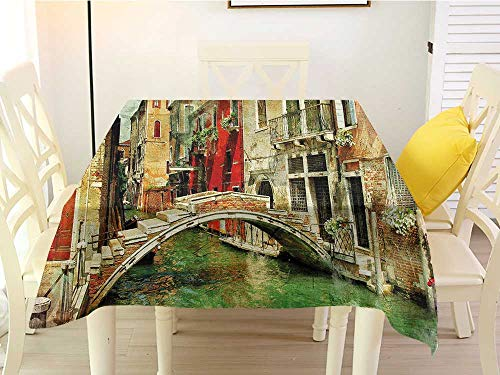 L'sWOW Square Tablecloth for Wedding Venice Vintage Artwork Painting Style Historic Venetian Landscape Artistic Print Green Red Light Brown Western 36 x 36 Inch