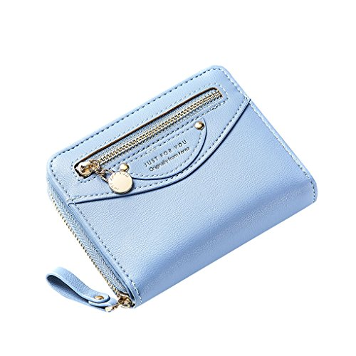 Small Compact Bifold Leather Pocket Wallet Purse for Women Clutch with ID Window Zipper Pocket Coin Card Cash Blue