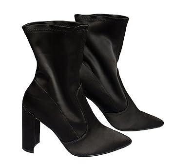 KUKI caída botas botas elásticas de tacones altos botas ásperas y desnudas botas de terciopelo calcetines botas baratas: Amazon.es: Deportes y aire libre