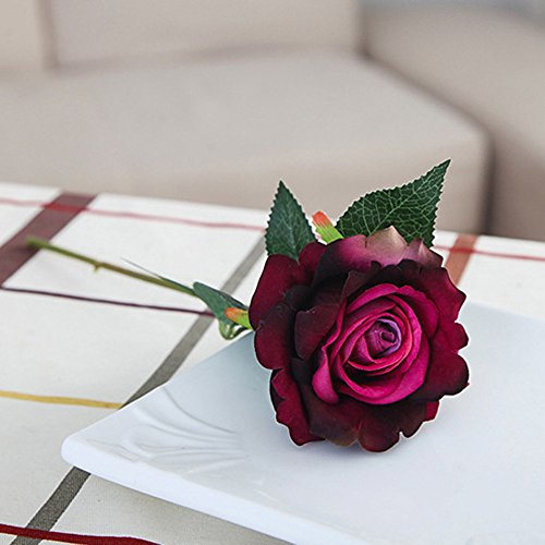 (5 Pcs Artificial Silk Fake Flowers Rose Flower Wedding Bouquet Home Decor H)