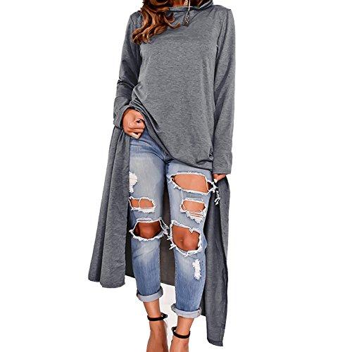 Bodycon4U Womens Plus Size Hoodies Asymmetrical Irregular Hem Loose Fit Long Sleeve Hooded Dress supplier