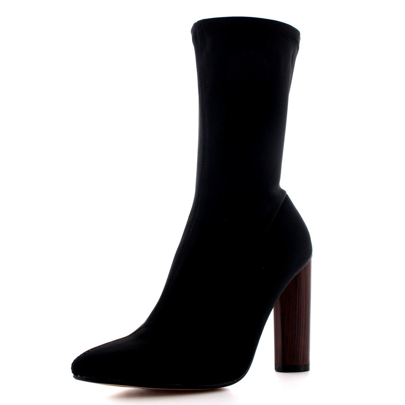 TALLA 39 EU. Mujer Talón Apilado Dedo Puntiagudo Moda Negro Elegante Vestir Botines
