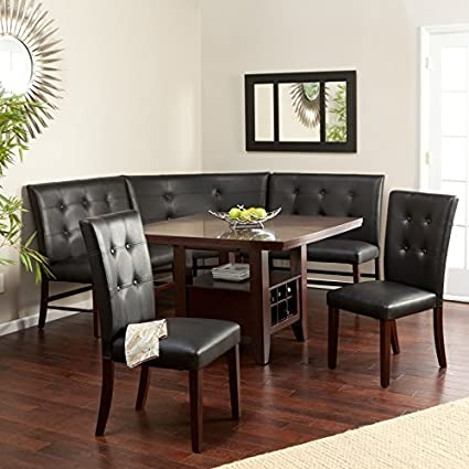 Espresso 6 Piece Breakfast Nook Set Wood And Faux Leather Chairs Benches Wine Bottle Holders By Layton