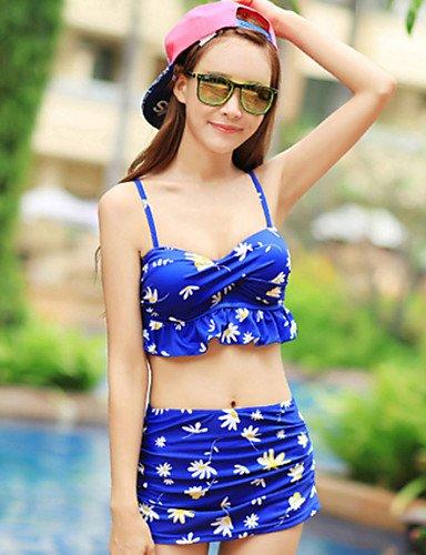 Damen Mehrteiler - Floral Bügel-BH Elasthan Halfter , blue-m , blue-m