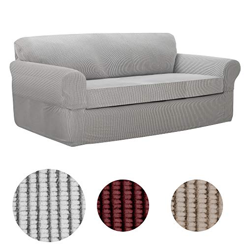 MAYTEX Connor Stretch 2-Piece Sofa Furniture Cover/Slipcover, Grey