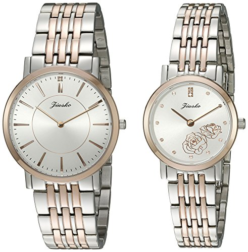 Jiusko Couple's 520MSRG01.2 His and Hers Swiss Quartz Stainless Steel Dress Watches (Set of 2) by JIUSKO