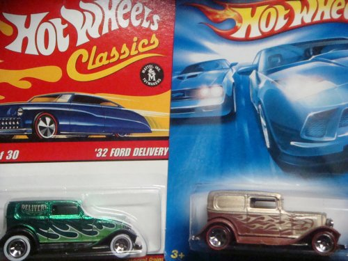 Hot Wheels '32 Ford Delivery Set: Classics Series 3 - Green with Flames White Wall & The Red Line #49 2008 All Stars {2 Pieces} Scale 1/64 (Bell Hot Wheels)