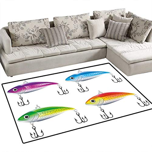 - Fishing Girls Rooms Kids Rooms Nursery Decor Mats Collection of Fishing Lures in Trout Shape Trap for Sea Mammals Creatures Picture Bath Mats for Floors 55