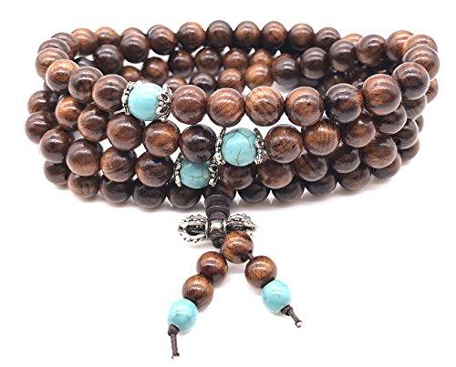(Sandalwood Wrist Mala Necklace Prayer Beads Bracelet Wood Wooden for Men Women Boys Girls Kids (Brown))