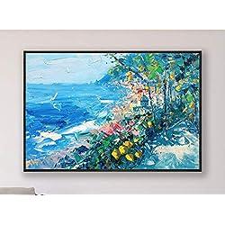Positano Painting on Canvas Original Amalfi Coast Italy Seascape Large Wall Art Home Decor