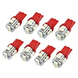 Water & Wood 8pcs 12V DC Red 10 LED 1210 SMD Light Lamp Bulb T10 W5W for Car Auto Dashboard with Car Cleaning Clothing