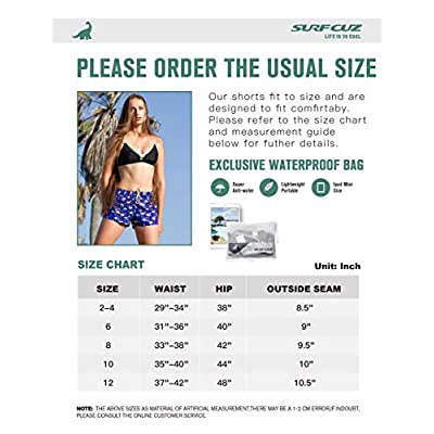 SURF CUZ Women's Prisma Board Short - Quick Dry Fabric Women Swim Shorts for Beach or Swim at Women's Clothing store