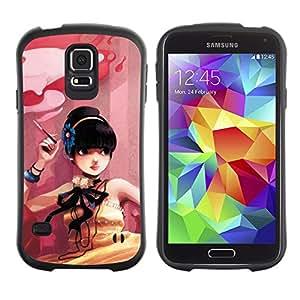 LASTONE PHONE CASE / Suave Silicona Caso Carcasa de Caucho Funda para Samsung Galaxy S5 SM-G900 / Cute Smoking Girl