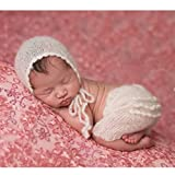 Fashion Cute Newborn Boy Girl Baby Costume Outfits Photography Props Hat Pant (White)