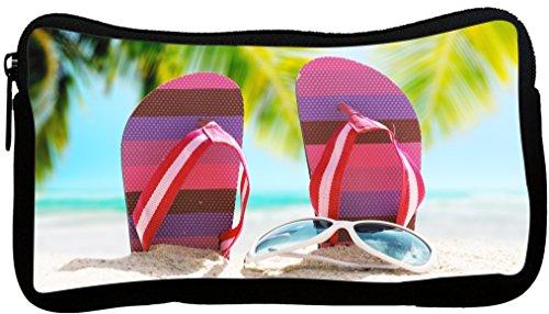 Rikki Knight Pink Stripes Flip Flops on Sand with Sunglasses Neoprene Pencil Case - Sunglass Neo