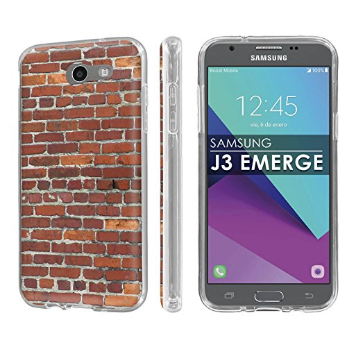 Samsung Galaxy J3 Emerge [2017] [NakedShield] [Clear] Total Armor Rubber Gel Phone Case [Screen Protector] - [Brick Wall] for Galaxy [2017] [J3 ()