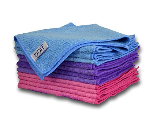 "Buff Microfiber Cleaning Cloths (Blue, Pink, Purple) 12 Pack | size 16"" x 16"" 