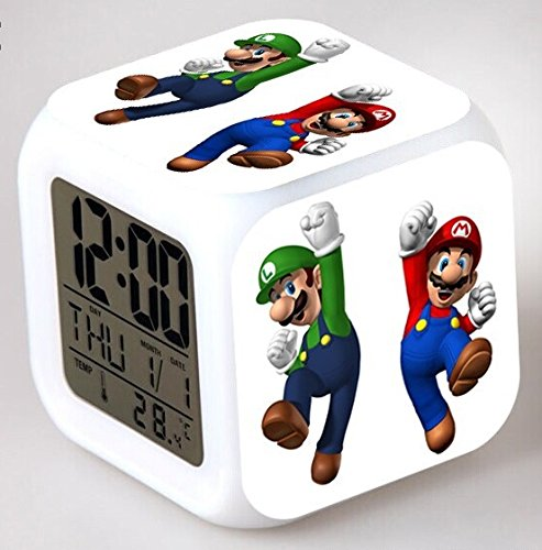 Enjoy Life : Cute Digital Multifunctional Alarm Clock With Glowing Led Lights and Super Mario sticker, Good Gift For Your Kids, Comes With Bonuses Part 1 (03) by EnjoyLife Inc