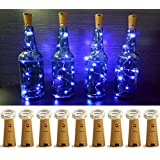 LXS Pack of 9 Cork Shape Mini String Lights,Silver Wire 46cm(18ft) Battery Operated Starry Rope Fairy Lights For Bottle DIY,Christmas Halloween Wedding Party Indoor Outdoor Decoration (Blue)
