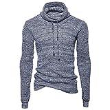 Autumn Winter Men's Turtle Neck Sweater Pullover Loose Jumper Knitwear Outwear Blouse Long Sleeve Sweatshirt (Gray, XL)