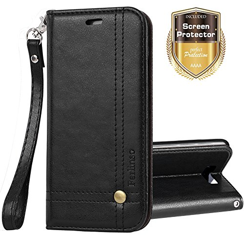 Galaxy Note 8 Case, Ferlinso Elegant Retro Leather with ID Credit Card Slot Holder Flip Cover Stand Magnetic Closure Case for Samsung Galaxy Note 8-Black (Retro Id Credit Card)