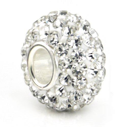Sterling Crystal Bracelet Silver (White Crystal Ball Bead Sterling Silver Bracelet Charm)