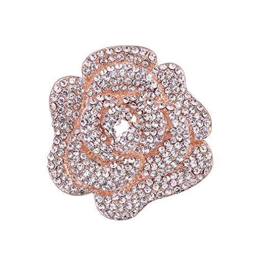 DARLING HER Crystal Rhinestones Rose Flower Brooch for Women Or Wedding in Rose Gold Or Silver Colors Plated Rose Gold Color
