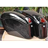 EGO BIKE Black Hard Saddle Bags Trunk Luggage w/Lights Mount Bracket Motorcycle for Yamaha Cruiser