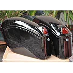 A pair of brand new stylish black motorcycle hard saddlebags, made with ABS. These bags open from the top, and can be mounted on any bike with side brackets. The bags are universal models and can work with any bikes. Package Includes: A pair ...