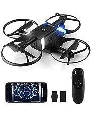 HELIFAR Drone con Cámara HD, H816 WiFi FPV Mini Quadcopter con cámara de 2MP 720P Live Video 120º Gran Angular Plegable Drone Altitude Hold Modo Sin Cabeza Retorno a Casa, 2 Baterías