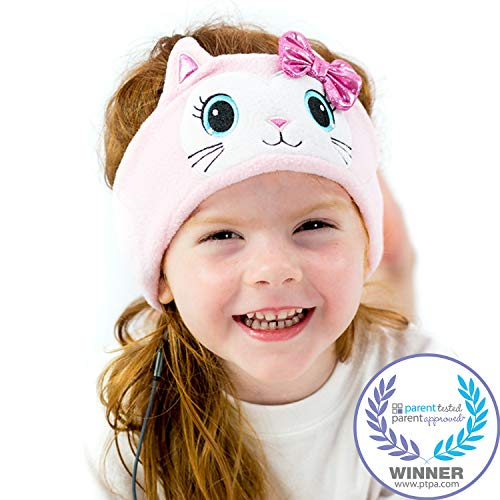 CozyPhones Kids Headphones Volume Limited with Ultra-Thin Speakers Soft Fleece Headband - Perfect Childrens Earphones for Home and Travel - Pink Kitty