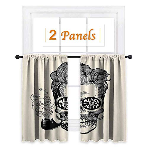 (maisi Indie, Curtains Blackout 2 Panels, Hipster Gentleman Skull with Mustache Pipe and Eyeglasses with Inscription Vintage, for Kitchen Windows (W63 x L45 Inch) Black Cream)